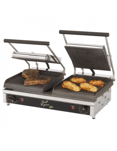 Star GX20IGS Dual Grill Express Heavy Duty Grooved Smooth Panini Grill