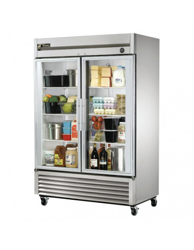 True T-49G 2 Two Glass Doors Reach In Refrigerator
