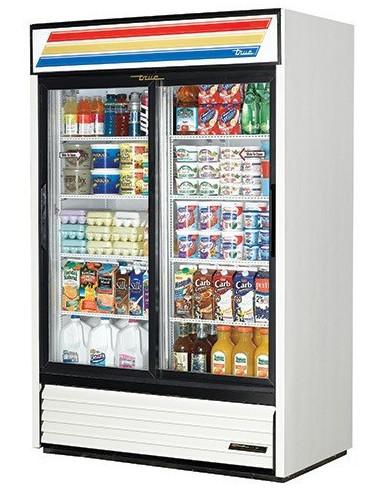 True GDM-45 Two Glass Slide Doors White Refrigerator