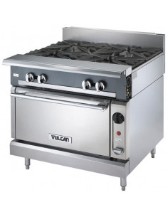 "Vulcan V4B36C V Series Gas 4 Burner 36"" Heavy-Duty Range with Convection Oven"