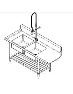 مِران - طاولة شطف الأطباق قبل إدخالها في غسالة الصحون ومزودة بحوضين
