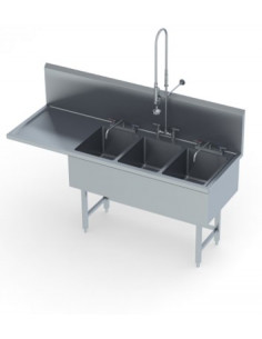 Miran Work Table With 3 Bowl Sink And Backsplash