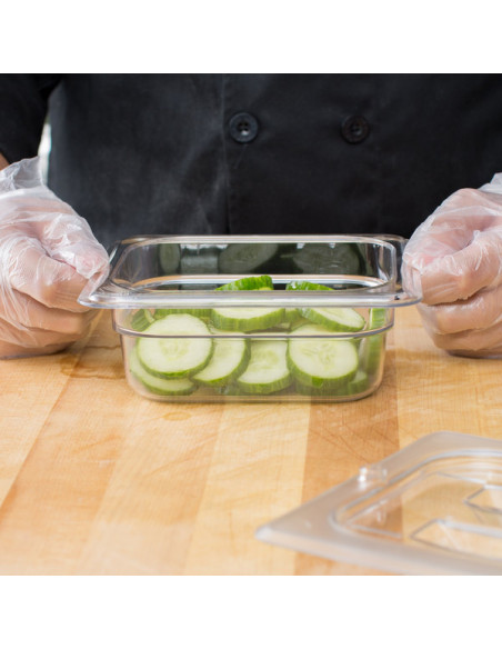 "Cambro Camwear 1/6 Size Clear Food Pan - 2 1/2"" Deep"