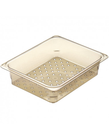 Cambro H-Pan 23CLRHP150 1/2 Size Amber High Heat Colander Pan