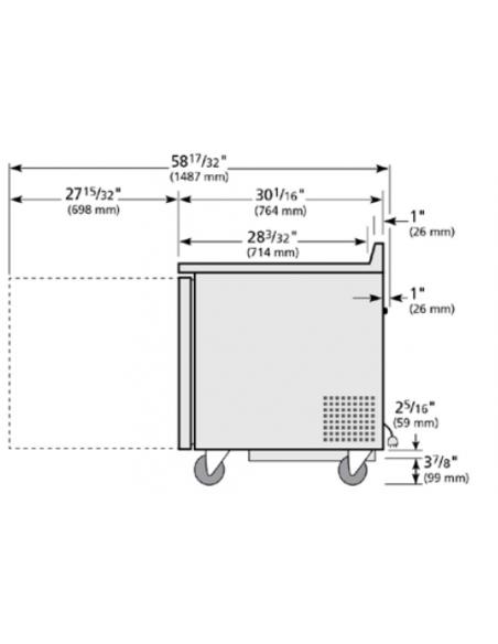 True TWT-60F-220V Two Door Worktop Freezer
