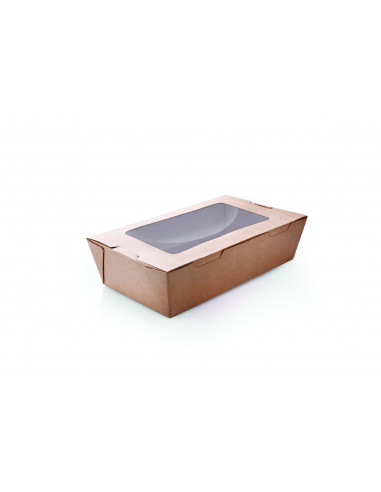 Brown Kraft Paper Box with Hinged Lid & Window 200 pcs/Box