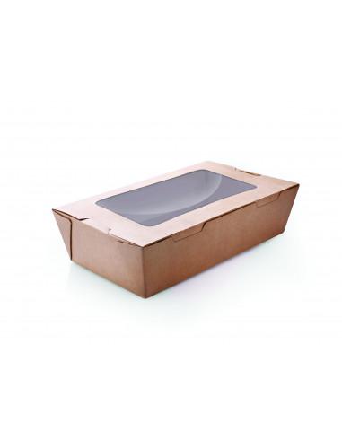 علبة من الورق المقوى باللون البني بغطاء متصل وإطار شفاف 200