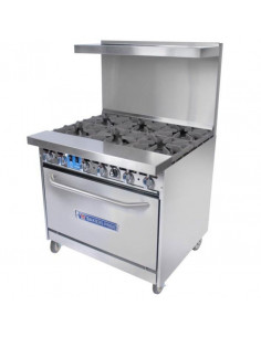 Bakers Pride BPXPR-6 6 Open Burners Gas Range With Oven