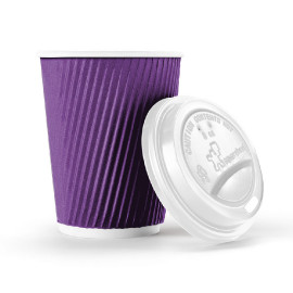 8 ounce Rippled Paper Cup Purple - 150 cups with lids
