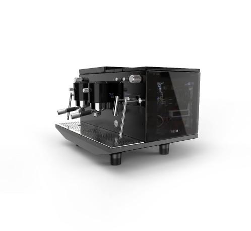 آلة الاسبريسو أيبريتال ذكية بمجموعتين  - فيجين زجاج أسود