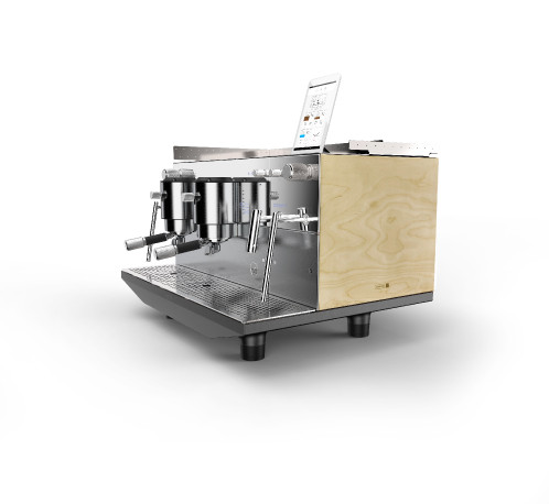 آلة الاسبريسو أيبريتال ذكية بمجموعتين - فيجين مرآة على خشبي