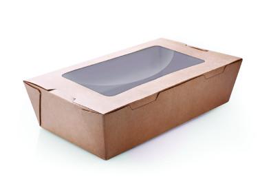 PLW66 Brown Kraft Paper Box with Hinged Lid & 1 Window