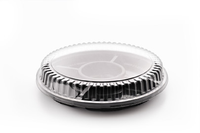 2119 Round Black Tray 5 compartment  Clear Dome