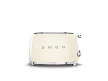 Smeg 50's Retro Style Aesthetic 2 Slice Toaster, Cream