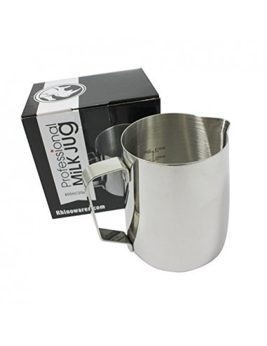 Rhinoware Professional Milk Pitcher, Stainless Steel 20oz