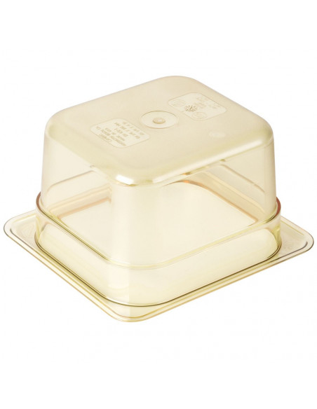 "Cambro 64HP150 H-Pan 1/6 Size Amber High Heat Food Pan - 4"" Deep"