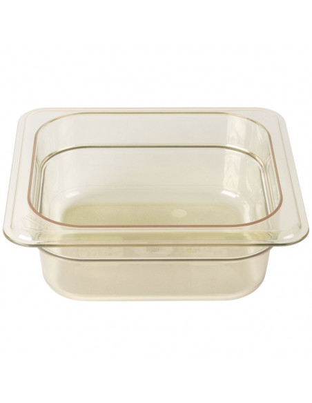 """Cambro 62HP150 H-Pan 1/6 Size Amber High Heat Food Pan - 2 1/2"""" Deep"""