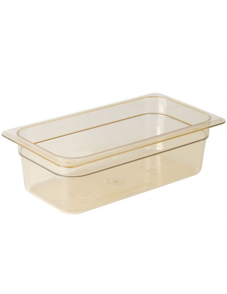 "Cambro 34HP150 H-Pan 1/3 Size Amber High Heat Food Pan - 4"" Deep"