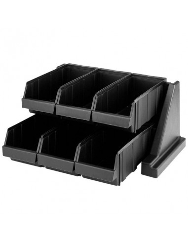 "Cambro Black Versa Self Serve Condiment Bin Stand Set with 2-Tier Stand and 12"" Condiment Bins 6RS6110"