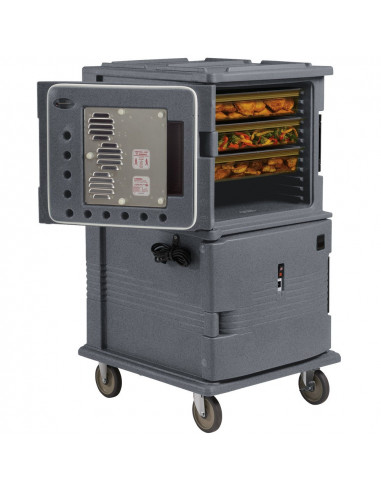 Cambro Granite Gray Ultra Camcart Two Compartment Heated Holding Pan Carrier with Casters, Both Compartments Heated