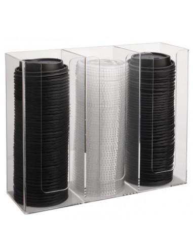 Three Lid Organizer, Acrylic,13inx4.5inx10in