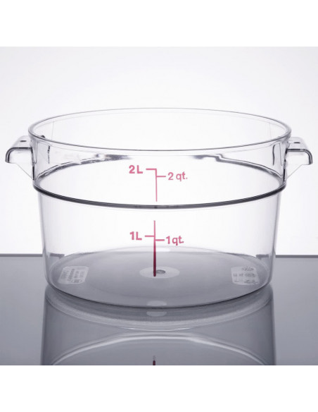 Cambro RFSCW2135 Camwear 2 Qt. Clear Round Food Storage Container