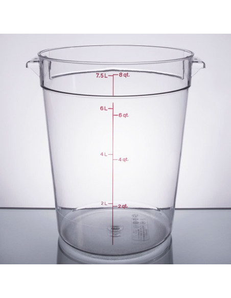 Cambro RFSCW8135 Camwear 8 Qt. Clear Round Food Storage Container