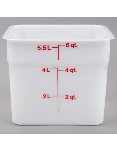 Cambro 6SFSP148 6 Qt. White Square Poly Food Storage Container