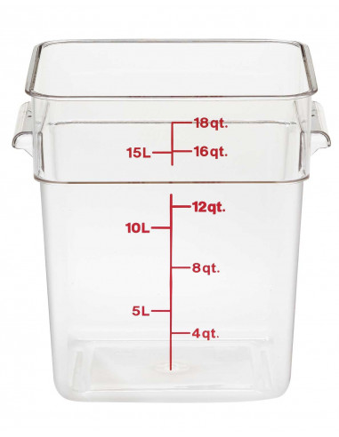 Cambro 18SFSCW135 CamSquare 18 Qt. Clear Food Storage Container