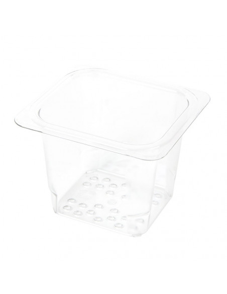 "Cambro 65CLRCW135 Camwear 1/6 Size Clear Polycarbonate Colander Pan - 5"" Deep"