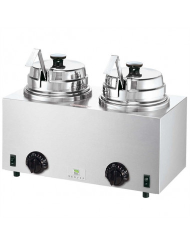 Server Twin Topping Warmers with 2 ladles