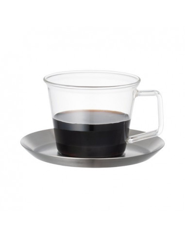 Kinto CAST COFFEE CUP & SAUCERS STAINLESS STEEL
