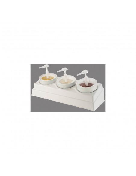 Carlisle CM105802 Pump Style Condiment Dispenser with (3) Crocks