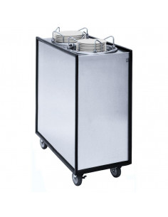 APW HML2-12A Mobile Enclosed Adjustable Heated Two Tube Dish Dispenser