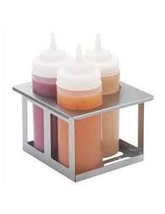 Server 86831 Squeeze Bottle Holder, Stainless Steel Triple Unit
