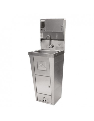 Advance Tabco 7-PS-99 Hand Sink with Pedestal Base, Soap and Towel Dispenser and Trash Bin