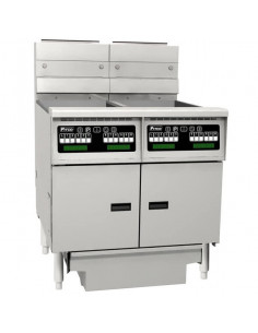 Pitco SE14TC/SE14C/FD Electric 2 Unit Floor Fryer System with one Split Well. Computer Controls and Filter Drawer