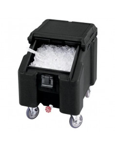 Cambro ICS100L Sliding Lid Black Portable Ice Bin